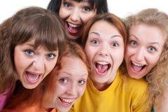 Muchachas de griterío felices Fotos de archivo libres de regalías