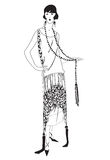 Muchachas de la aleta (estilo 20s): Partido retro de la manera ilustración del vector