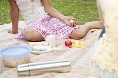 Muchachas de la comida campestre que se sientan en la manta Foto de archivo