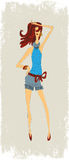 Muchachas de la moda en pantalones cortos Foto de archivo libre de regalías