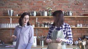 Muchachas de la pareja del mismo sexo dos en la cocina, besándose almacen de video