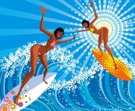 Muchachas de la persona que practica surf Foto de archivo libre de regalías