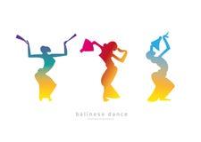 Muchachas de la silueta Danza del Balinese stock de ilustración