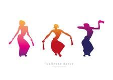 Muchachas de la silueta que bailan danza del Balinese ilustración del vector