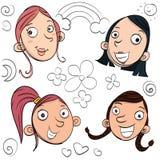 Muchachas de la sonrisa de la historieta Fotos de archivo libres de regalías