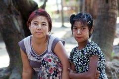 Muchachas de la tribu de Chin, Myanmar Fotografía de archivo