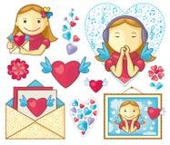 Muchachas de las tarjetas del día de San Valentín fijadas stock de ilustración