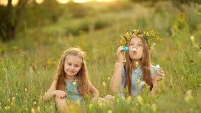 Muchachas de Litlte que soplan burbujas almacen de metraje de vídeo