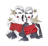 Muchachas de moda con bolsos Foto de archivo libre de regalías