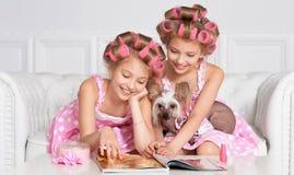 Muchachas de Tweenie en bigudíes de pelo con el perro Imágenes de archivo libres de regalías