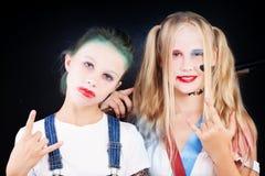 Muchachas del adolescente en traje del carnaval Imagenes de archivo
