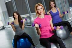 Muchachas del deporte en gimnasio que ejercitan con pesas de gimnasia Foto de archivo