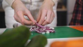 Muchachas del primer dos en la cebolla roja del corte de la cocina para la ensalada almacen de video