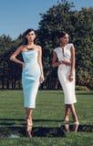 Muchachas elegantes hermosas que presentan en campo de golf con la hierba verde y los espejos imagen de archivo