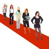 Muchachas en la alfombra roja Fotografía de archivo libre de regalías