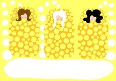 Muchachas en la invitación del partido del pijama de las camas el dormir Imágenes de archivo libres de regalías