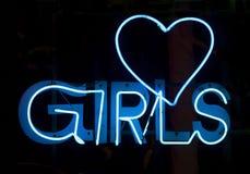 Muchachas en neón azul Foto de archivo libre de regalías
