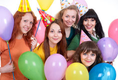 Muchachas felices con los globos Fotos de archivo libres de regalías