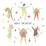 Muchachas felices y diversa figura de la mujer del sistema de los objetos en concepto positivo del cuerpo del movimiento ilustración del vector