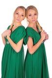 Muchachas gemelas 2 adosados mutuamente Foto de archivo libre de regalías