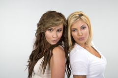 2 muchachas hermosas contra un fondo blanco Fotografía de archivo libre de regalías