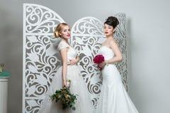 Muchachas hermosas en vestido de boda Foto de archivo libre de regalías