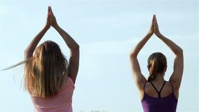 Muchachas hermosas que hacen yoga en el parque metrajes