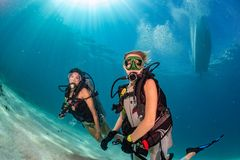 Muchachas hermosas que le miran mientras que nada bajo el agua imagen de archivo