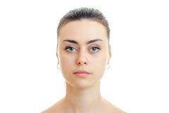 Muchachas hermosas serias del retrato sin el primer del maquillaje Imagenes de archivo