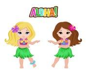 Muchachas lindas de la historieta en traje hawaiano tradicional del bailarín stock de ilustración
