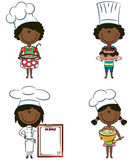 Muchachas lindas del cocinero del African-American Ilustración del Vector