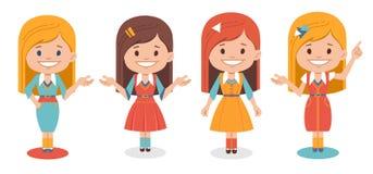 Muchachas lindas sonrientes en diversa ropa en el fondo blanco Imagen de archivo libre de regalías