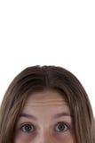 Muchachas ojo y nariz contra el fondo blanco Fotos de archivo libres de regalías