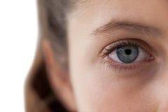 Muchachas ojo y nariz contra el fondo blanco Imágenes de archivo libres de regalías