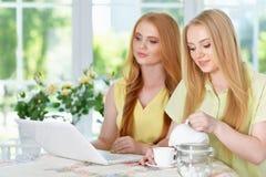 Muchachas que beben té con el ordenador portátil Imagen de archivo libre de regalías