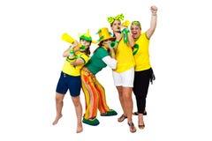 Muchachas que celebran una meta brasileña Foto de archivo libre de regalías