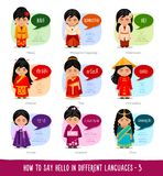Muchachas que dicen hola en idiomas extranjeros stock de ilustración