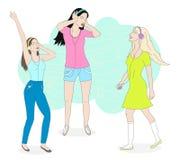 Muchachas que escuchan la música ilustración del vector