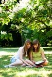 Muchachas que estudian al aire libre Foto de archivo libre de regalías