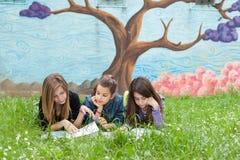Muchachas que leen un libro en el parque Fotos de archivo