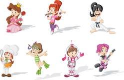 Muchachas que llevan diversos trajes stock de ilustración