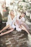 Muchachas que presentan en ropa sensual Imagen de archivo libre de regalías