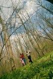 Muchachas que se ejecutan en el bosque Imagen de archivo