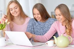 Muchachas que usan el ordenador portátil moderno Foto de archivo libre de regalías