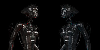Muchachas robóticas de acero con estilo Fotografía de archivo
