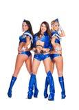 Muchachas sonrientes atractivas en traje azul de la etapa Fotografía de archivo libre de regalías
