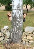 Muchachas sonrientes que ocultan detrás de árbol Imágenes de archivo libres de regalías