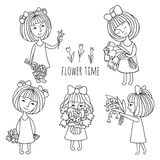 Muchachas y flores Imagen de archivo