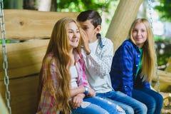 Muchachas y muchacho sonrientes que se divierten en el patio Niños que juegan al aire libre en verano Adolescentes en un oscilaci Fotos de archivo libres de regalías