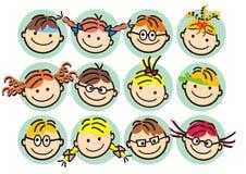 Muchachas y muchachos, niños felices, ejemplo del od de las caras del vector libre illustration
